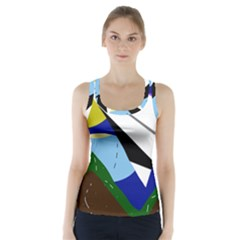 Paper airplane Racer Back Sports Top