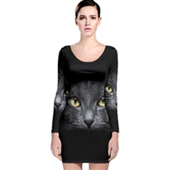 Black Cat Face In The Dark Long Sleeve Velvet Bodycon Dress
