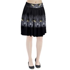Black Cat Face In The Dark Pleated Skirt