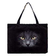Black Cat Face In The Dark Medium Tote Bag