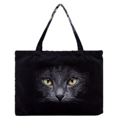 Black Cat Face In The Dark Medium Zipper Tote Bag