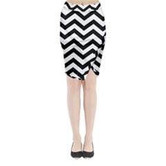 Black And White Chevron Midi Wrap Pencil Skirt