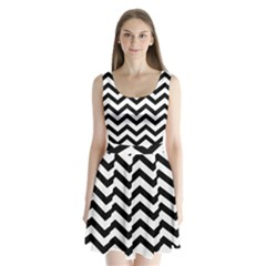 Black And White Chevron Split Back Mini Dress