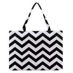 Black And White Chevron Medium Zipper Tote Bag