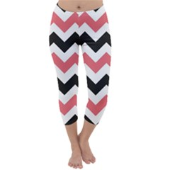 Black And Pink Chevron Capri Winter Leggings