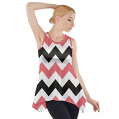 Black And Pink Chevron Side Drop Tank Tunic