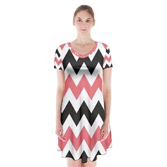 Black And Pink Chevron Short Sleeve V-neck Flare Dress