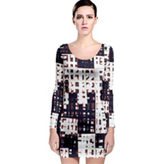 Abstract city landscape Long Sleeve Bodycon Dress