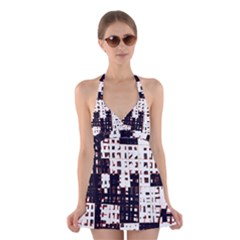 Abstract city landscape Halter Swimsuit Dress