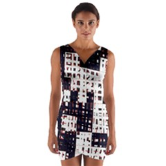 Abstract city landscape Wrap Front Bodycon Dress