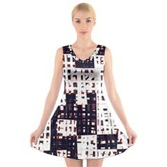 Abstract city landscape V-Neck Sleeveless Skater Dress