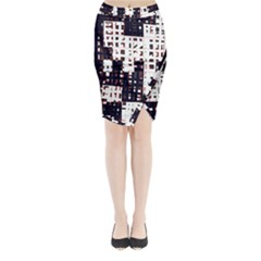 Abstract City Landscape Midi Wrap Pencil Skirt