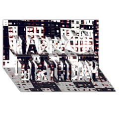 Abstract city landscape Happy Birthday 3D Greeting Card (8x4)