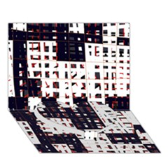 Abstract City Landscape Heart Bottom 3d Greeting Card (7x5)