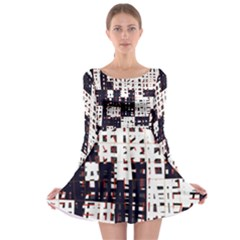 Abstract city landscape Long Sleeve Skater Dress
