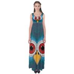 Bird Eyes Abstract Empire Waist Maxi Dress