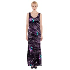Bird Color Purple Passion Peacock Beautiful Maxi Thigh Split Dress