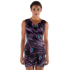 Bird Color Purple Passion Peacock Beautiful Wrap Front Bodycon Dress
