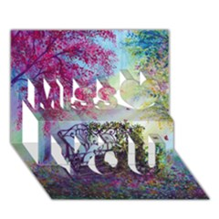 Bench In Spring Forest Miss You 3D Greeting Card (7x5)