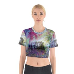 Bench In Spring Forest Cotton Crop Top