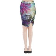 Bench In Spring Forest Midi Wrap Pencil Skirt