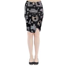 Elegant puzzle Midi Wrap Pencil Skirt