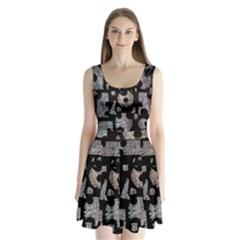 Elegant Puzzle Split Back Mini Dress