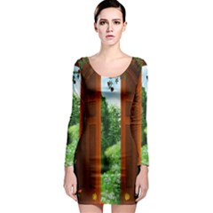 Beautiful World Entry Door Fantasy Long Sleeve Bodycon Dress