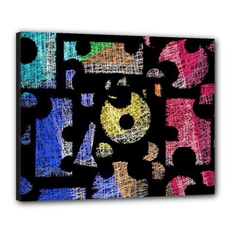Colorful puzzle Canvas 20  x 16