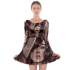 Beautiful Women Fantasy Art Long Sleeve Skater Dress