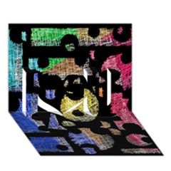 Colorful puzzle I Love You 3D Greeting Card (7x5)
