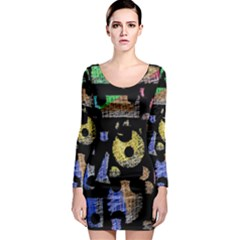 Colorful puzzle Long Sleeve Bodycon Dress