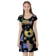 Colorful puzzle Short Sleeve Skater Dress
