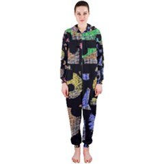 Colorful puzzle Hooded Jumpsuit (Ladies)