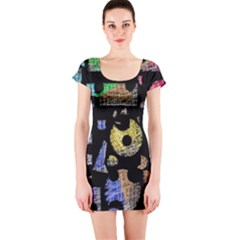 Colorful puzzle Short Sleeve Bodycon Dress