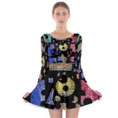 Colorful puzzle Long Sleeve Skater Dress