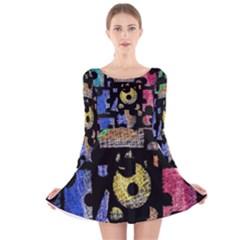 Colorful puzzle Long Sleeve Velvet Skater Dress