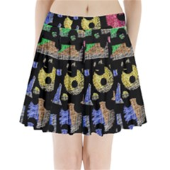 Colorful Puzzle Pleated Mini Skirt