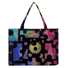 Colorful puzzle Medium Zipper Tote Bag