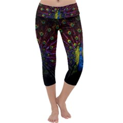 Beautiful Peacock Feather Capri Yoga Leggings