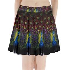Beautiful Peacock Feather Pleated Mini Skirt