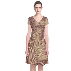 Beautiful Patterns Vector Short Sleeve Front Wrap Dress
