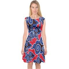 Batik Background Vector Capsleeve Midi Dress