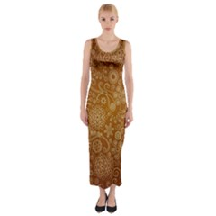 Batik Art Pattern Fitted Maxi Dress