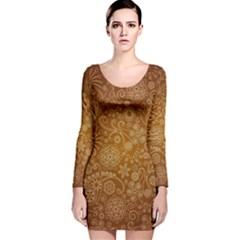 Batik Art Pattern Long Sleeve Velvet Bodycon Dress