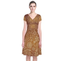 Batik Art Pattern Short Sleeve Front Wrap Dress