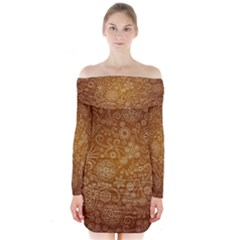 Batik Art Pattern Long Sleeve Off Shoulder Dress