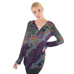 Batik Art Pattern  Women s Tie Up Tee