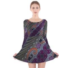 Batik Art Pattern  Long Sleeve Velvet Skater Dress