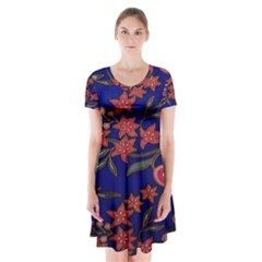 Batik Fabric Short Sleeve V-neck Flare Dress